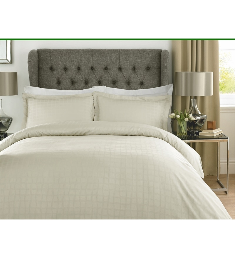 Ivory Checks Cotton King Size Bed Sheet - Set of 3 by Mark Home
