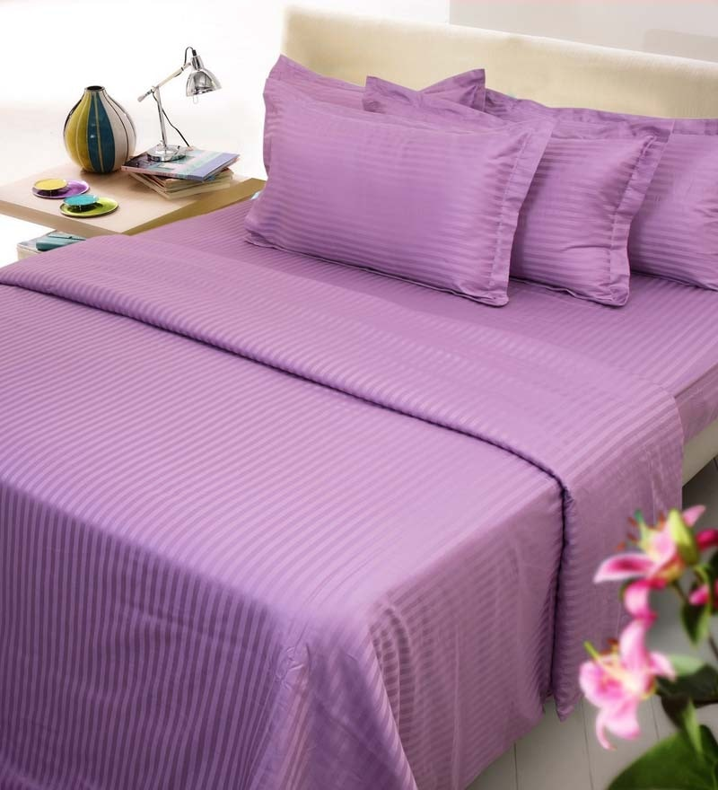 Purple Cotton Queen Size Fitted Bed Sheet - Set of 3 by Mark Home