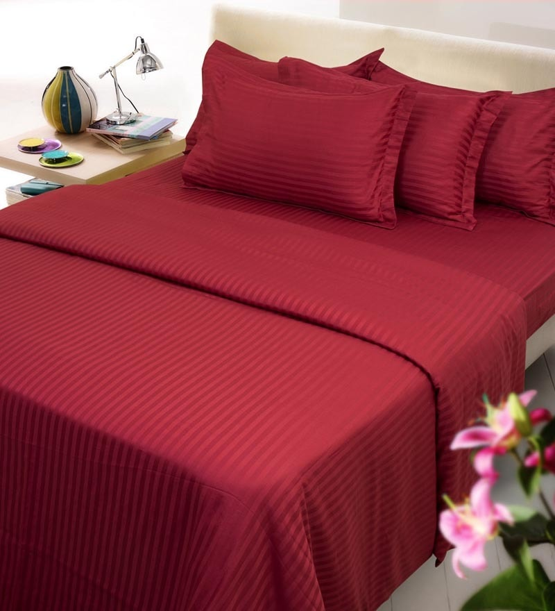 Maroon Solids Cotton Queen Size Duvet Cover 1 Pc by Mark Home