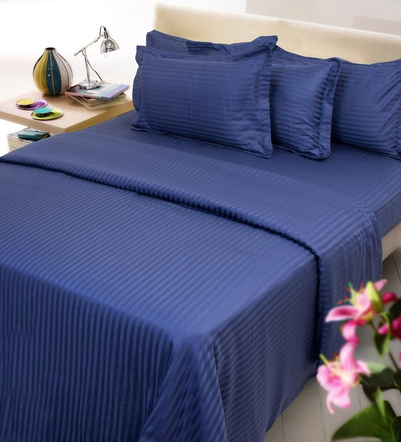 Navy Blue Solids Cotton Queen Size Fitted Bed Sheet Set - Set of 3 by Mark Home