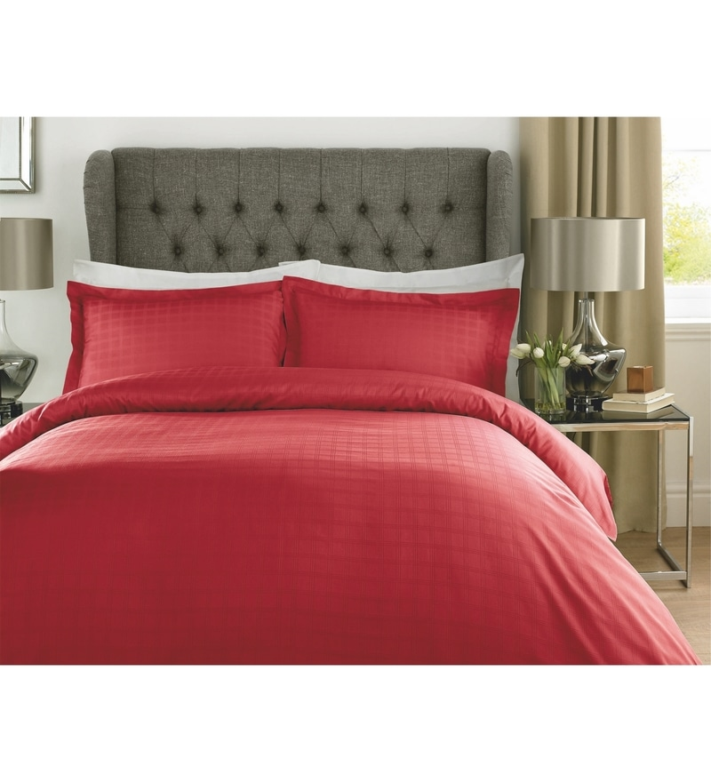 Red Checks Cotton Single Size Duvet Cover 1 Pc by Mark Home