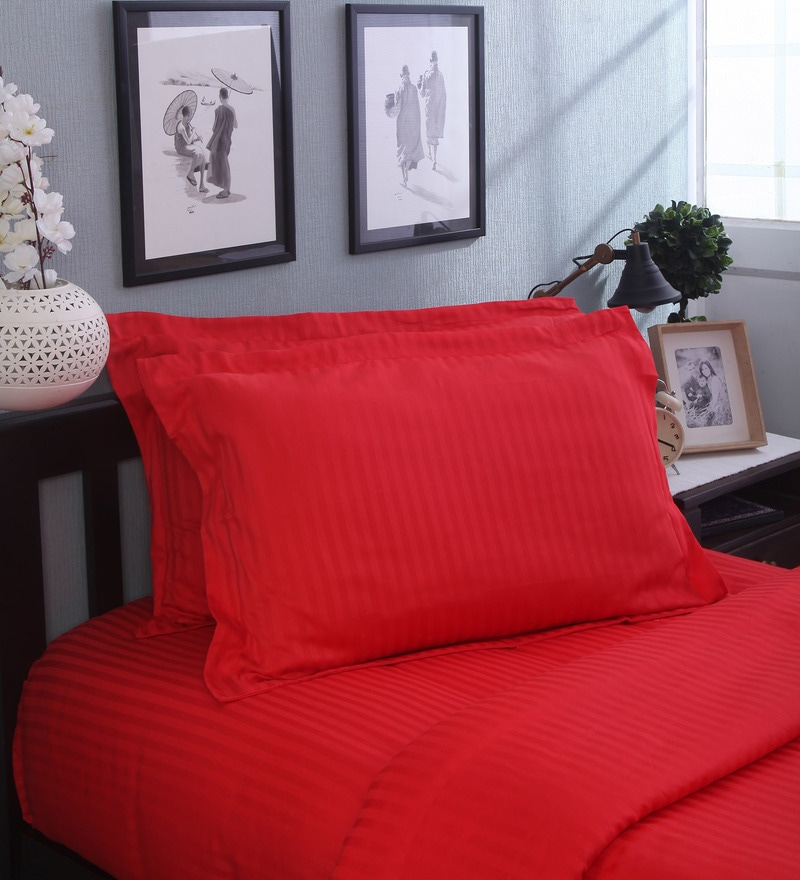 Red Cotton Pillow Cover - Set of 2 by Mark Home