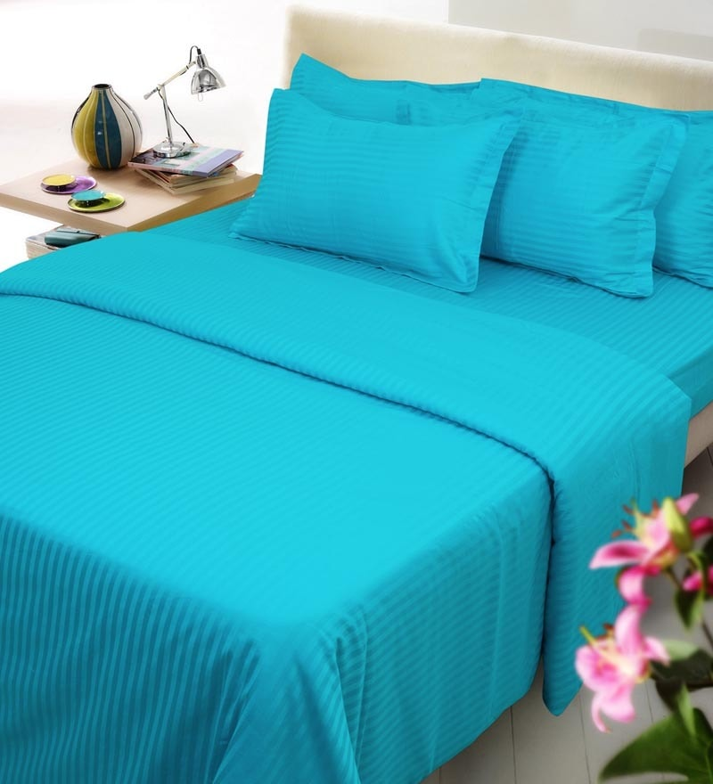 Turquoise Blue Solids Cotton Single Size Duvet Covers - 1 Pc by Mark Home