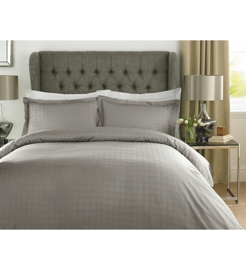 Grey Checks Cotton Single Size Duvet Cover 1 Pc by Mark Home