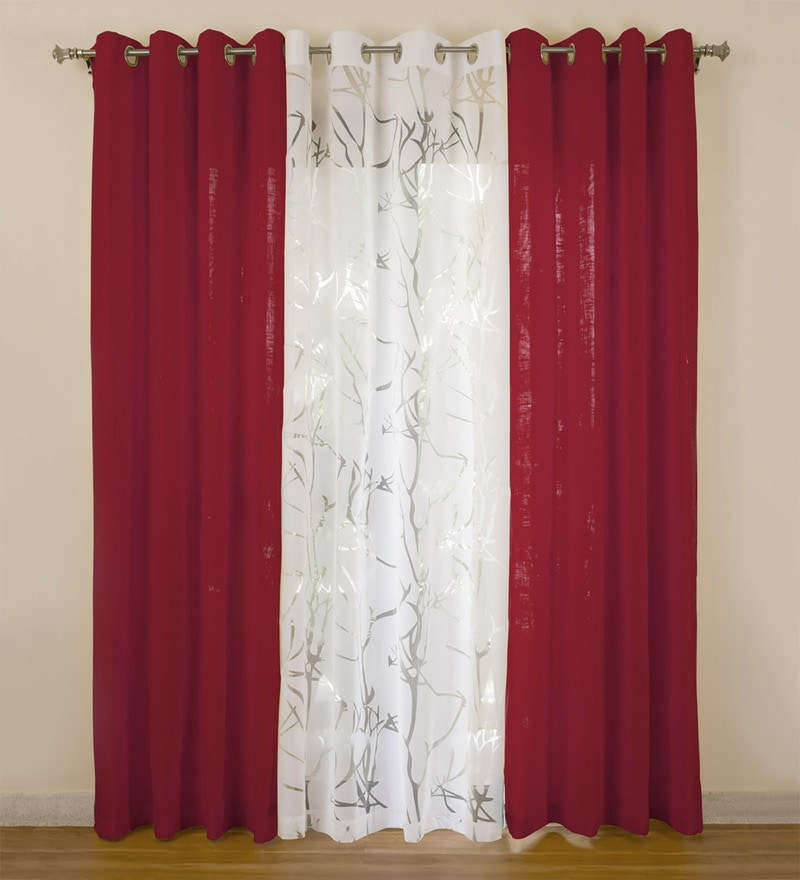 Maroon Cotton 55x84 Inch Door Curtains - Set of 3 by Rosara