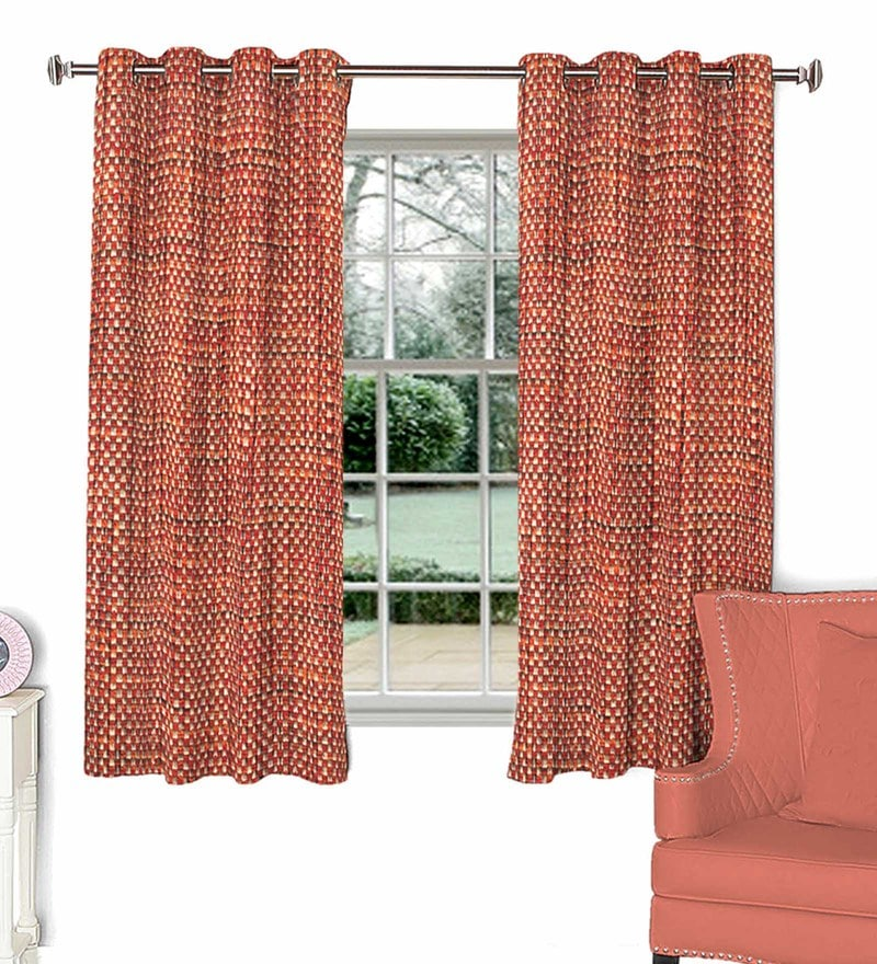 Maroon Poly Viscose Window Curtain by Skipper