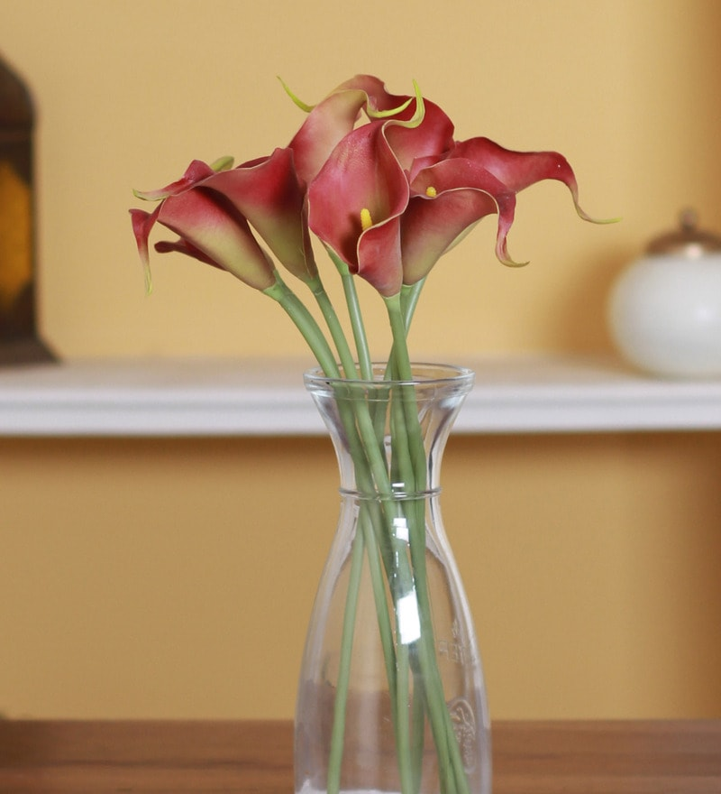 Red PVC Synthetic Mini Calllily Flower by Fourwalls - Set of 8