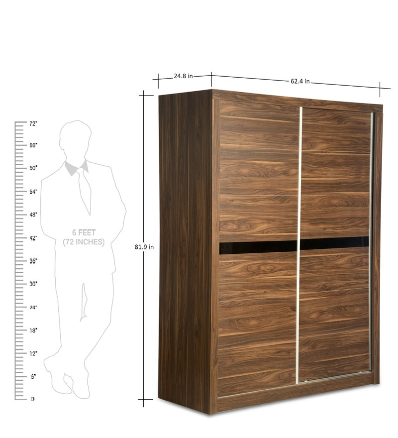Buy Marshal Sliding Door Wardrobe In Dark Walnut Finish By