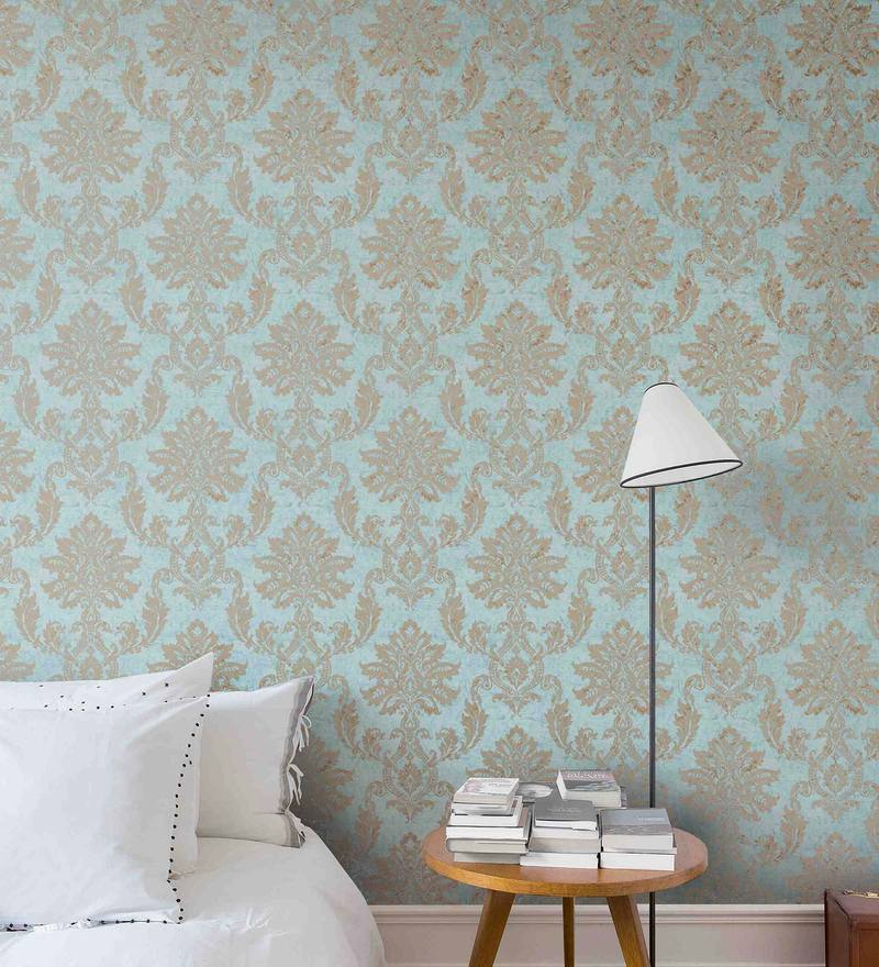 Blue & Gold Non Woven Paper Wallpaper by Marshalls WallCoverings
