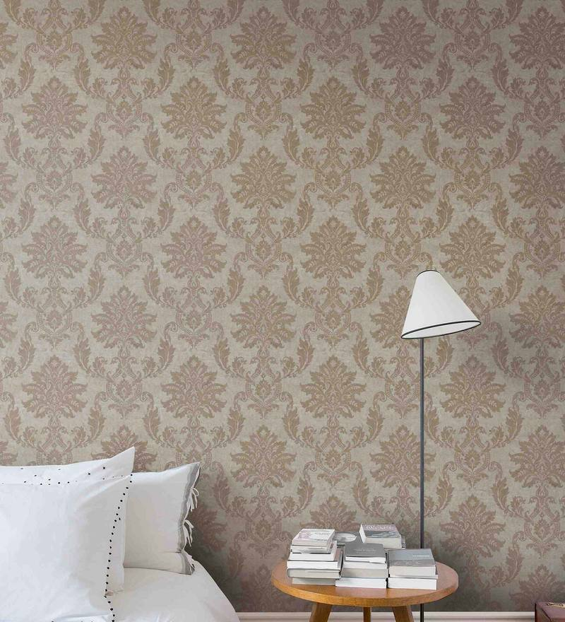 Gold & Beige Non Woven Paper Wallpaper by Marshalls WallCoverings