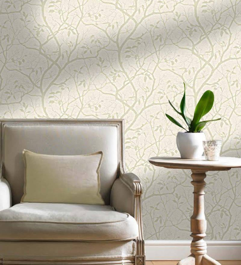 Ivory & Beige Non Woven Paper Wallpaper by Marshalls WallCoverings