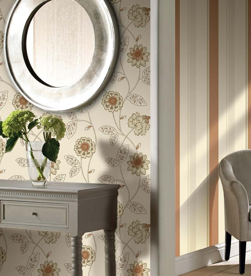 Beige Non Woven Fabric Floral Wallpaper by Marshalls WallCoverings
