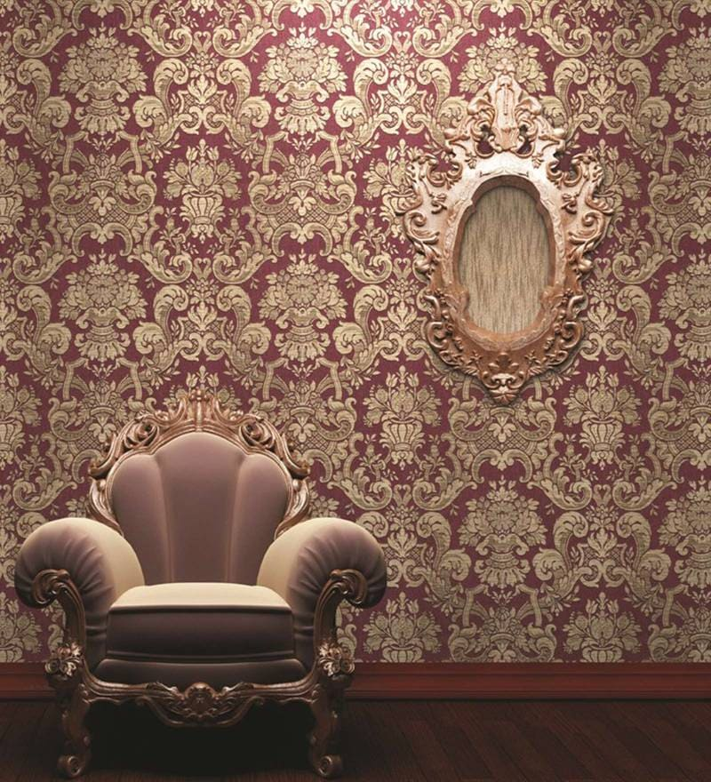 Purple & Beige Non Woven Paper Wallpaper by Marshalls WallCoverings