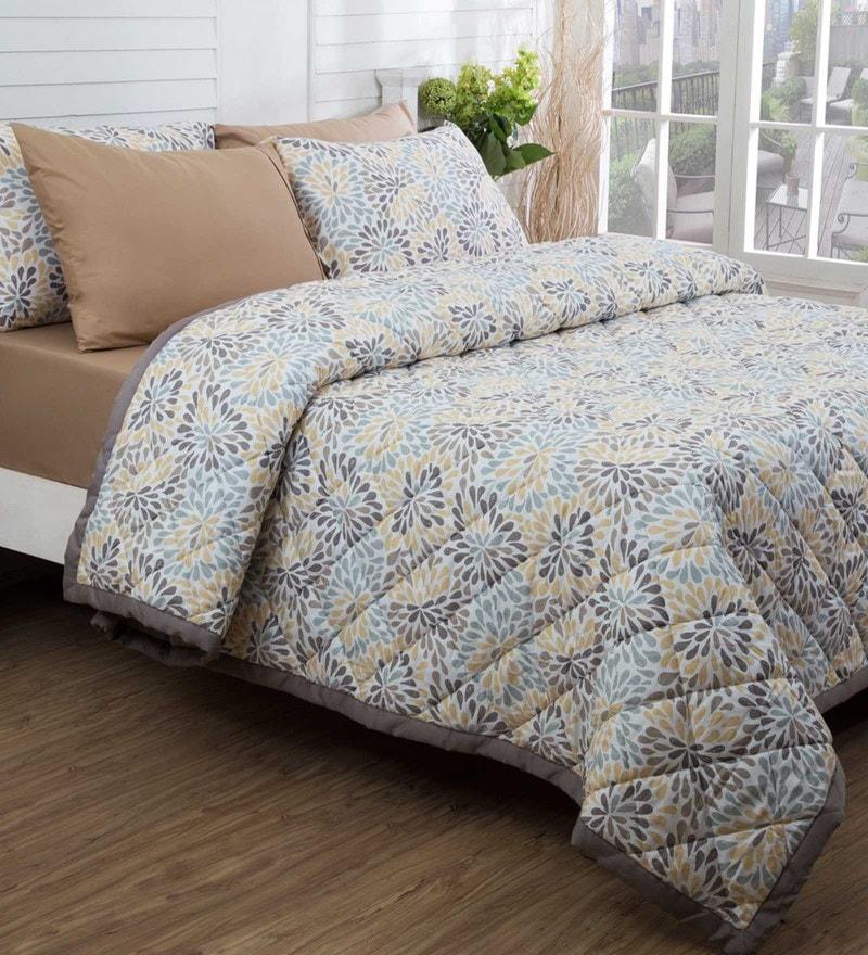 Maspar Beige 100% Cotton 98 x 102 Inch Bloom Double Quilt
