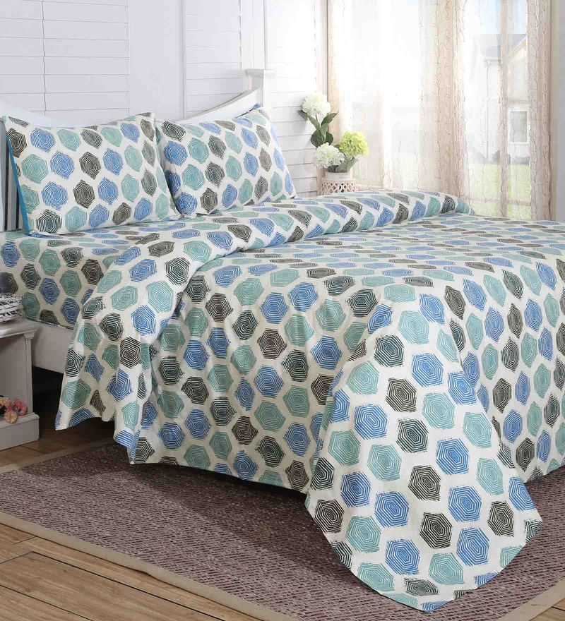 Blue 100% Cotton 108 x 108 Inch Carnival Prime King Bed Sheet - Set of 3 by Maspar