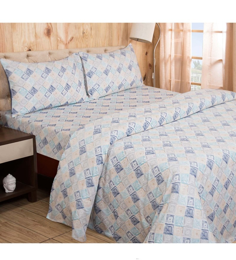 Maspar Blue 100% Cotton 108 x 88 Inch Clarissa Bricky Double Bed Sheet with 2 Pillow Covers