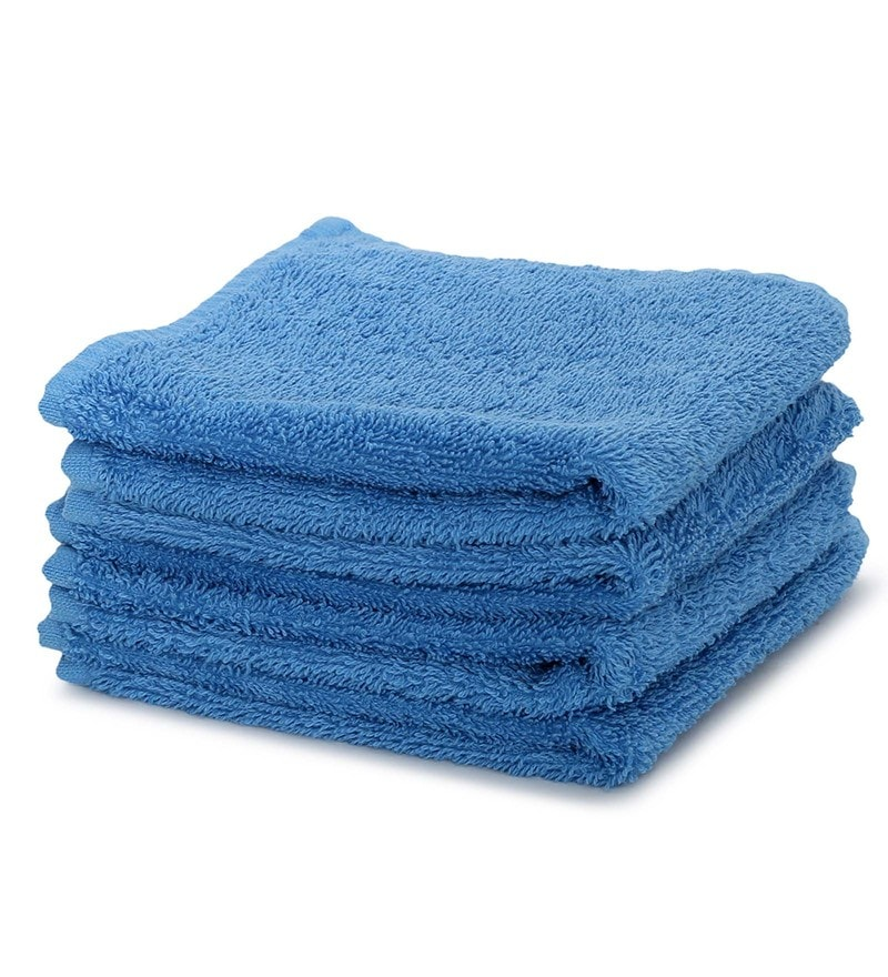 Blue 100% Cotton 12 x 12 Inch Carnival Prime Face Towel Set - Set of 4 by Maspar