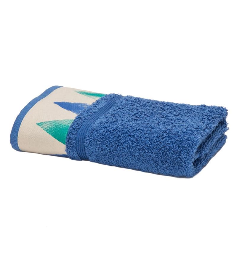 Maspar Blue 100% Cotton 16 x 28 Inch Spring Solitaire Exotica Print Hand Towel
