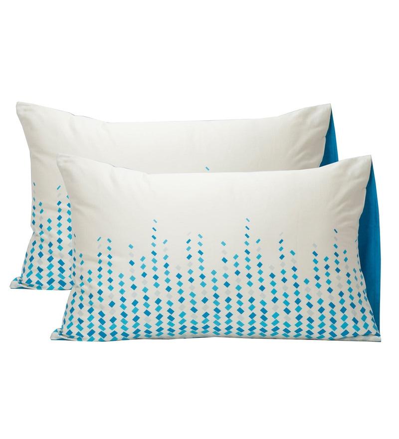 Maspar Blue & White 100% Cotton 20 x 30 Inch Clarissa Winsome Large Pillow Case - Set of 2