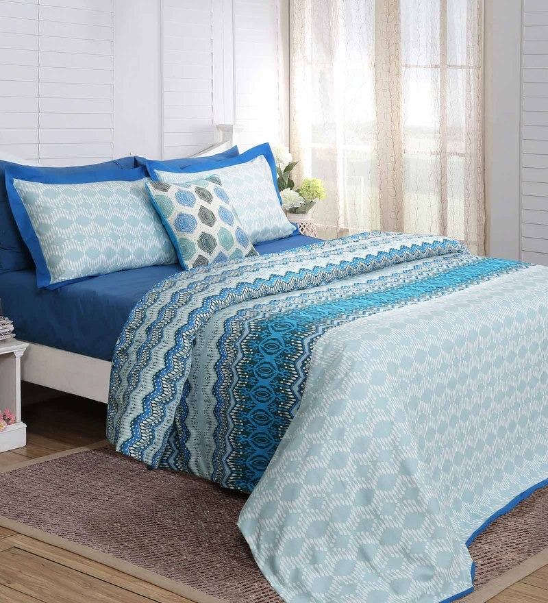 Blue 100% Cotton 88 x 96 Inch Carnival Prime Double Duvet Cover - Set of 3 by Maspar