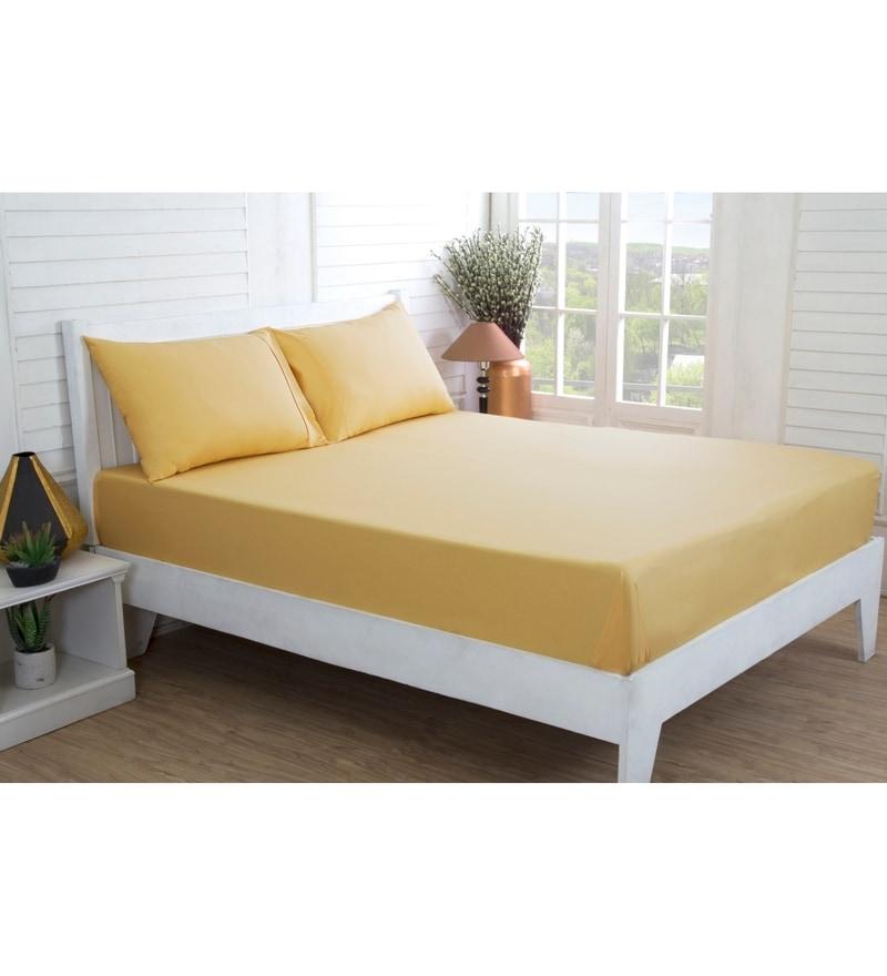 Golden 100% Cotton King Size Bed Sheet - Set of 3 by Maspar