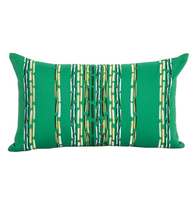 Maspar Green 100% Cotton 14 x 24 Inch Waltz Bequiling Emb Medium Cushion Cover