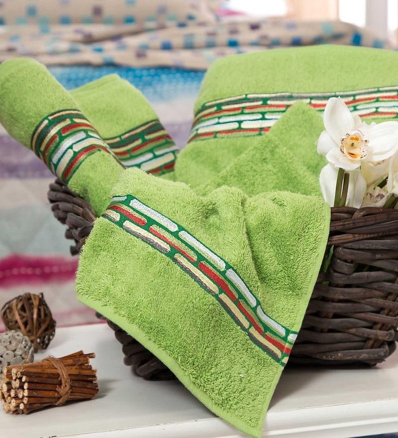 Maspar Green 100% Cotton 16 x 28 Inch Waltz Bequiling Print Hand Towel