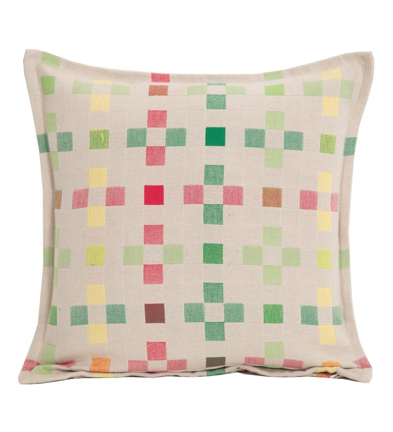 Maspar Multicolour Cotton And Viscose 16 x 16 Inch Waltz Pied Box Medium Cushion Cover