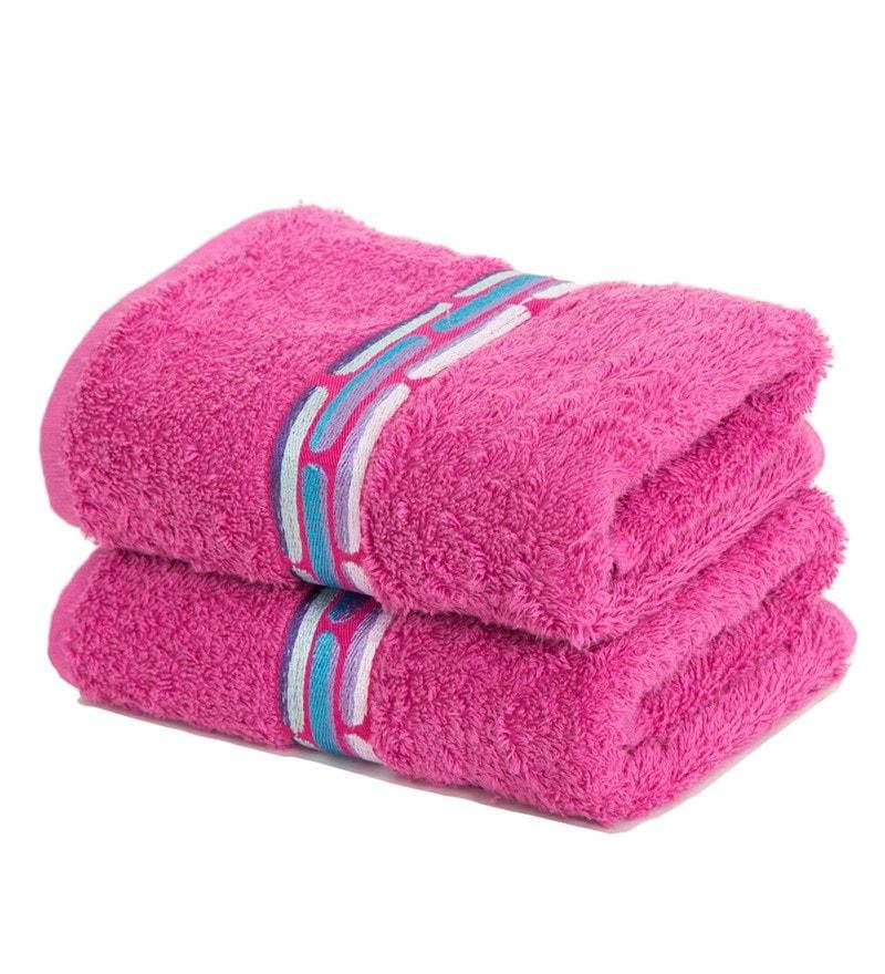 Maspar Pink 100% Cotton 16 x 28 Inch Waltz Bequiling Print Hand Towel