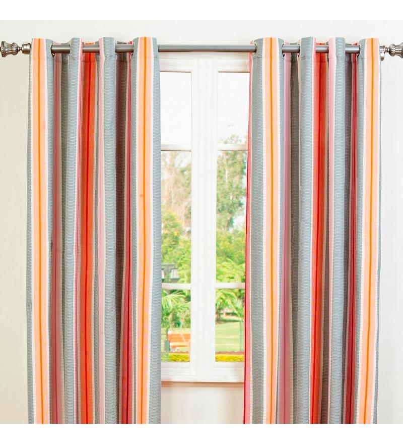 Red Cotton 96 x 42 Inch Striped Door Curtain - Set of 2 by Maspar