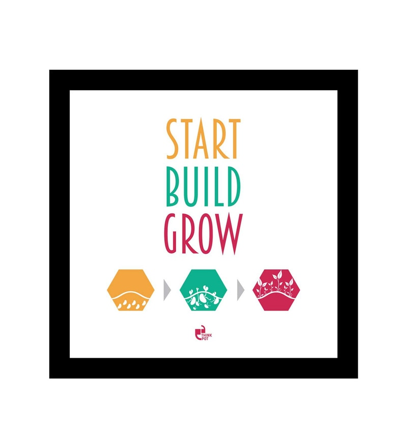 Matte 8.5 x 0.5 x 8.5 Inch Start Build Grow Black Square Framed Poster by Thinkpot