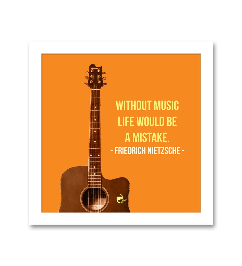 Matte 8.5 x 0.5 x 8.5 Inch Without music life would be a mistake Framed Poster by Thinkpot