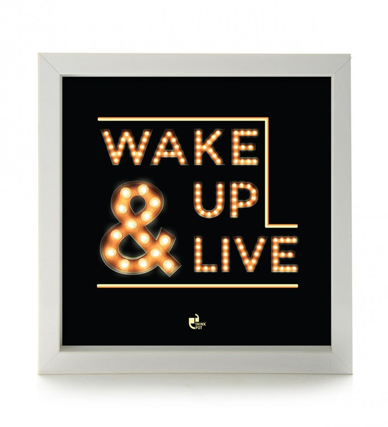 Matte 8.5 x 1 x 8.5 Inch Wake up & live Box Framed Poster by Thinkpot