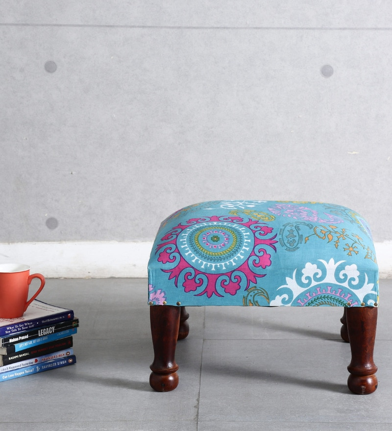 Dirgha Stool in Sky Blue Color by Mudramark