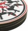 Mad(e) in India Mudra Black, Red & White MDF 3.5x3.5 INCH Coaster - Set of 4