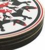 Mad(e) in India Mudra Black, Red & White MDF 3.5x3.5 INCH Coaster - Set of 4
