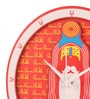 Orange & White MDF 9.8 Inch Round Sadhu 3D Wall Clock by Mad(e) in India