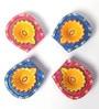 Manomay Kreations Multicolour Clay Hand Painted Diwali Diya - Set of 4