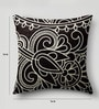 Black Duppioni 16 x 16 Inch Silk Embroidered Cushion Cover by Mapa Home Care
