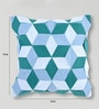 Blue Duppioni 16 x 16 Inch Silk Patchwork Cushion Cover by Mapa Home Care