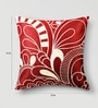 Mapa Home Care Red & White Duppioni 16 x 16 Inch Silk Embroidered Cushion Cover