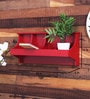 Red Engineered Wood Wall Shelf by Home Sparkle