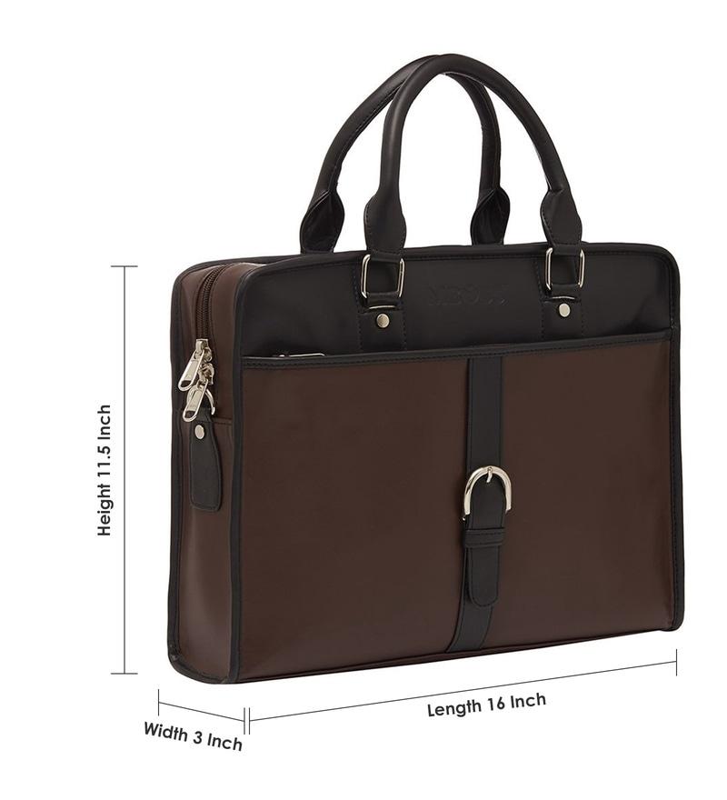 5e87c3af39f Buy Mboss Brown   Black Faux Leather Laptop Bag