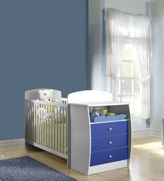 McKevin Baby Crib w Chest in Satin White & Blue by Mollycoddle at pepperfry