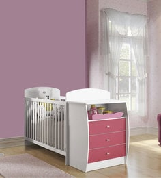 McKevin Baby Crib W Chest In Satin White & Pink By Mollycoddle