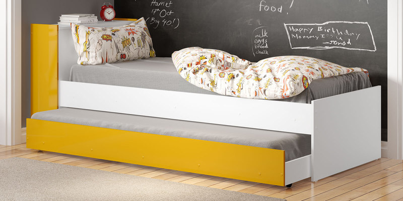 McZoe Trundle Bed with Storage Headboard in Satin White & Yellow by Mollycoddle
