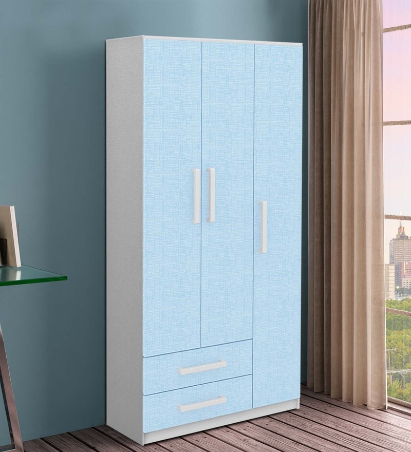 McJoe Three Door Wardrobe in Sea Blue by Mollycoddle