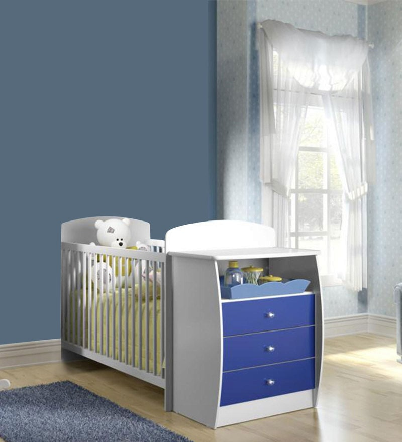 McKevin Baby Crib with Chest of Drawers in Satin White & Blue by Mollycoddle