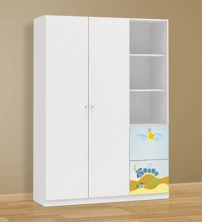 McPercy Large Two Door Wardrobe with Two Drawers in Blue Colour by Mollycoddle