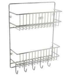 Meded Multipurpose 2 Tier Wall Mounted Kitchen Rack With 5 Hooks